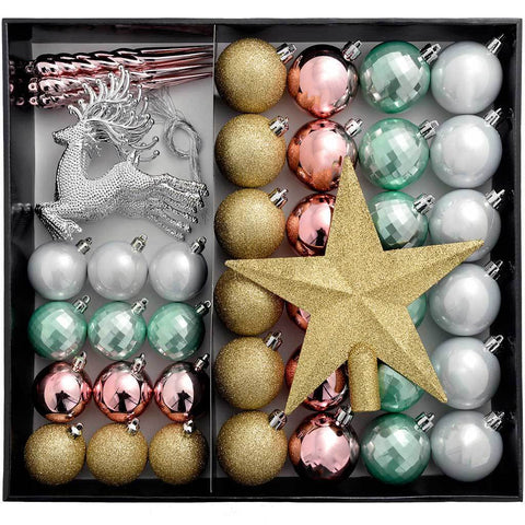 Shatterproof Luxury Christmas Tree Baubles, 50-Piece - Gold/Silver/Pink/Blue
