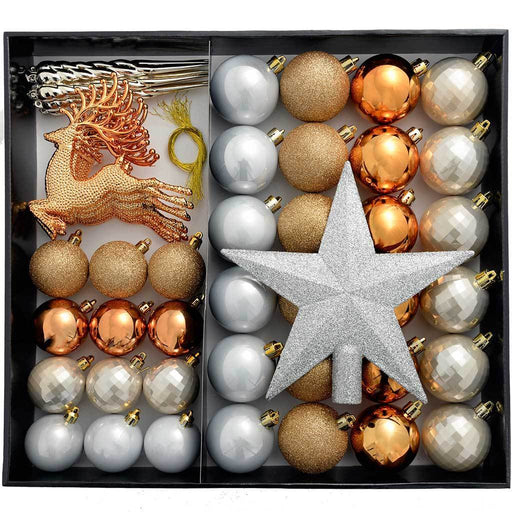 Shatterproof Luxury Christmas Tree Baubles, 50-Piece - Bronze/Silver/Gold