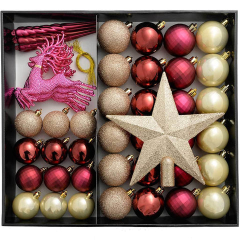 Shatterproof Luxury Christmas Tree Baubles, 50-Piece - Gold/Berry/Aubergine