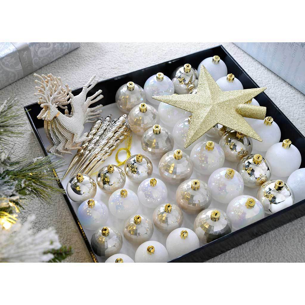 Shatterproof Luxury Christmas Tree Baubles, Gold/Silver/White, 50-Piece