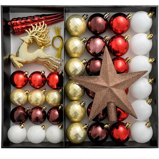 Shatterproof Luxury Christmas Tree Baubles, 50-Piece - Red/White/Gold/Chocolate/Berry
