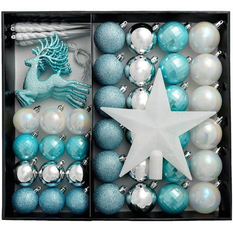 Shatterproof Luxury Christmas Tree Baubles, Silver/Blue/White, 50-Piece