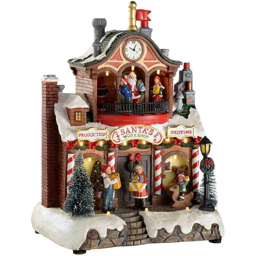 Pre-Lit LED Musical Animated Santa's Workshop Scene with Rotating Children, 29 cm