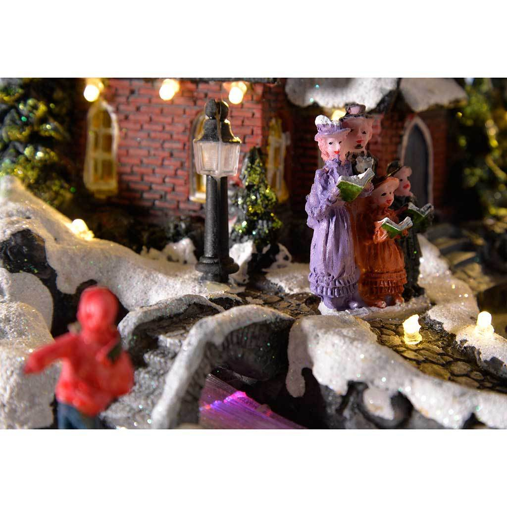 Pre-Lit LED Musical Animated Christmas Village Scene with Rotating Sleigh, 29 cm