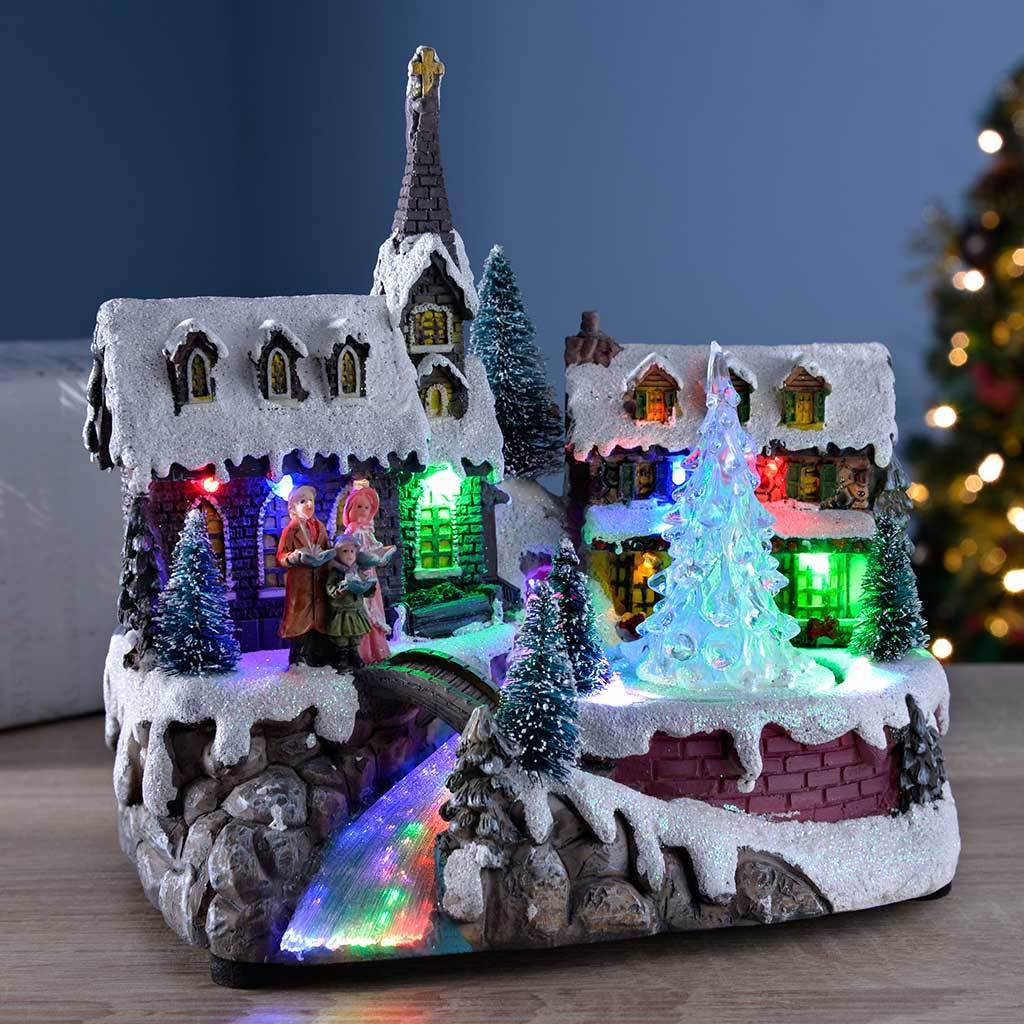 Pre-Lit LED Musical Animated Christmas Village Scene with a ...