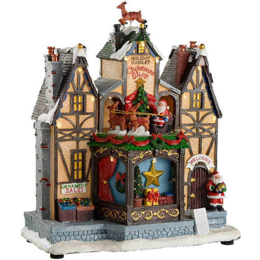 Pre-Lit LED Musical Animated Christmas Shop Scene, Rotating Santa and Sleigh, 27 cm