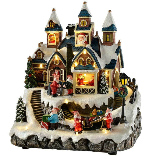 Pre-Lit LED Musical Animated Christmas Santa House Scene with Rotating Carriage, 26 cm