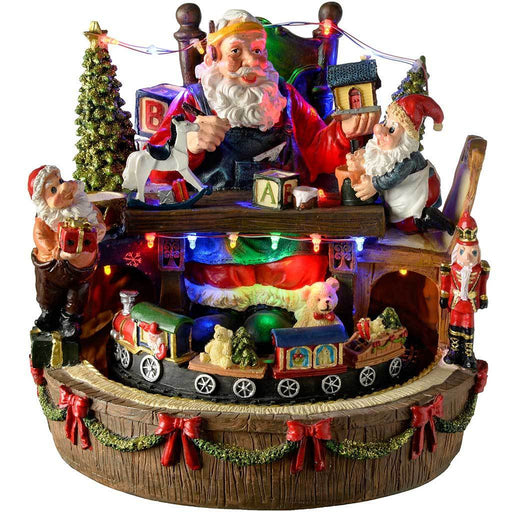 Pre-Lit LED Musical Animated Santa's Workshop Scene with Rotating Train, 25 cm