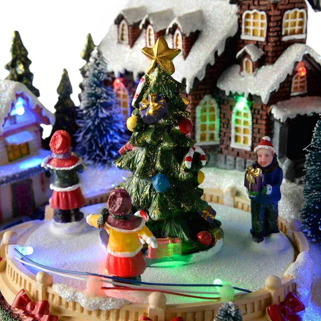 Pre-Lit LED Musical Animated Christmas Village Scene with Rotating ...