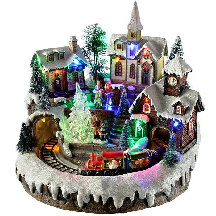pre lit led musical animated christmas village scene with rotating train 23 cm - Animated Christmas Scene Decorations