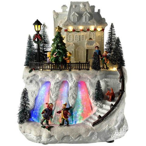 Pre-Lit LED Musical Christmas House Scene with Fibre Optic River, Multi-Colour, 25 cm