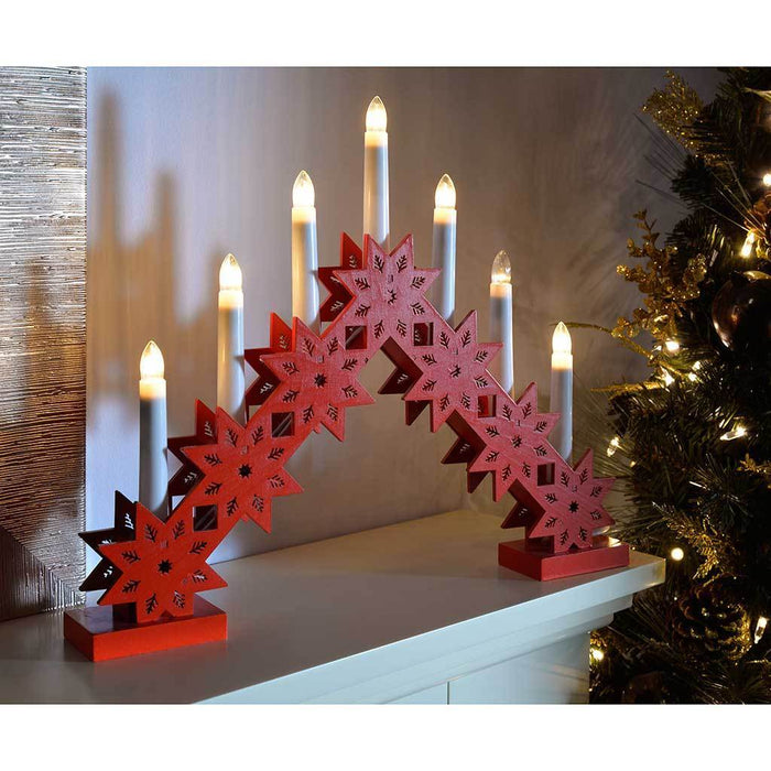 Pre-Lit Candle Bridge Arch Table Decoration, Wood, 33.5 cm - Red