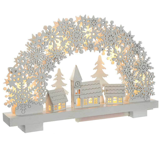 Pre-Lit Snowflake Arch and Village Scene Christmas Tabletop Decoration, Wood, 32 cm - White
