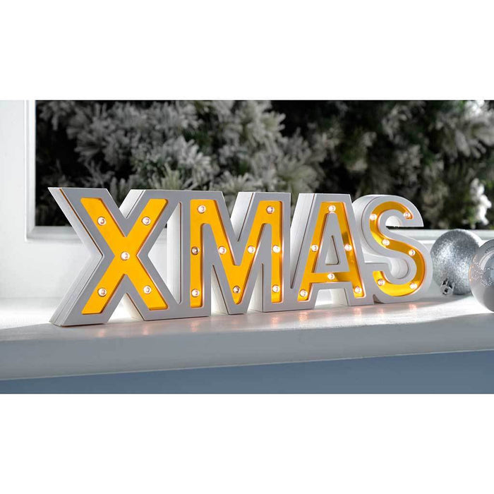 Pre-Lit Mirror XMAS Sign Christmas Decoration, Wood, 33 cm - Gold