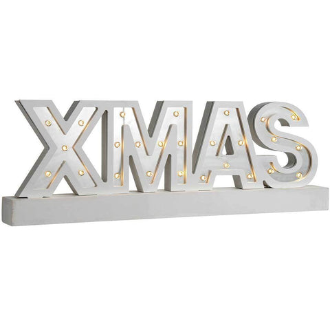Pre-Lit Mirror Xmas Sign with Base Christmas Decoration, Wood, 38 cm - Silver