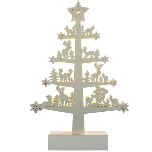 pre lit reindeer tree table christmas decoration wood 25 cm white