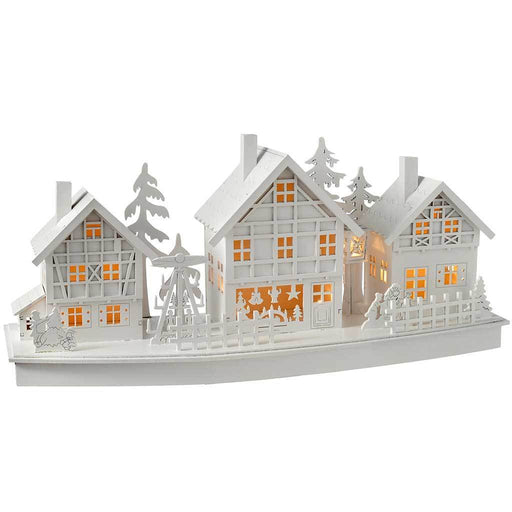 Pre-Lit Village Scene Christmas Decoration, Wood, 37.5 cm - White