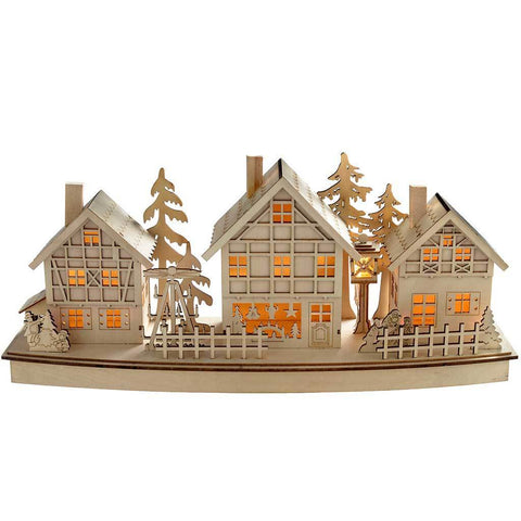 Pre-Lit Village Scene Christmas Decoration, Wood, 37.5 cm