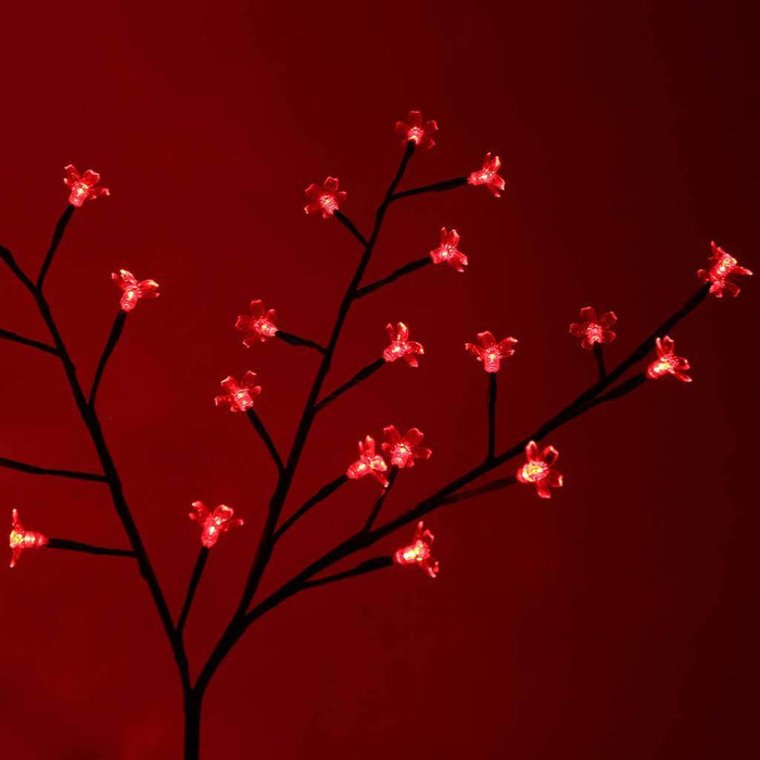 240 LED Pre-Lit Illuminated Cherry Blossom Tree, Red, 6.6 ft/ 2 m