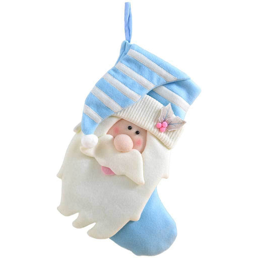 Christmas Stocking with Father Christmas Head Finished in Baby Blue, 45 cm