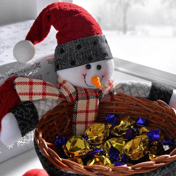 Snowman Multi-Use Wicker Basket Christmas Decoration Table Decoration, 18 cm