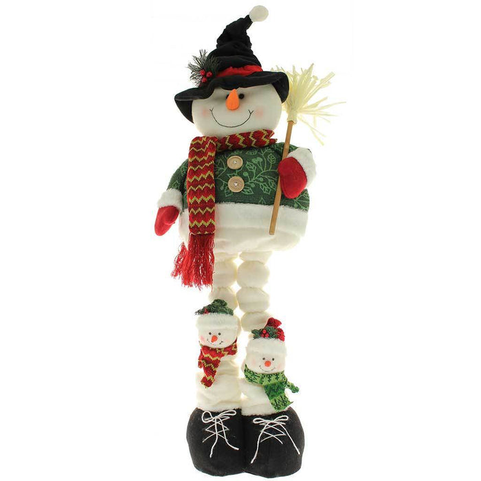 Free Standing Snowman Christmas Floor Decoration with Extendable Legs, 100 cm - Large