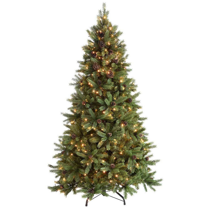 WeRChristmas 6 ft Craford Pine Cone Pre-Lit Multi-Function Christmas Tree with 400 Warm White LED Lights/ 8 Setting Controller/ Easy Build Hinged Branches