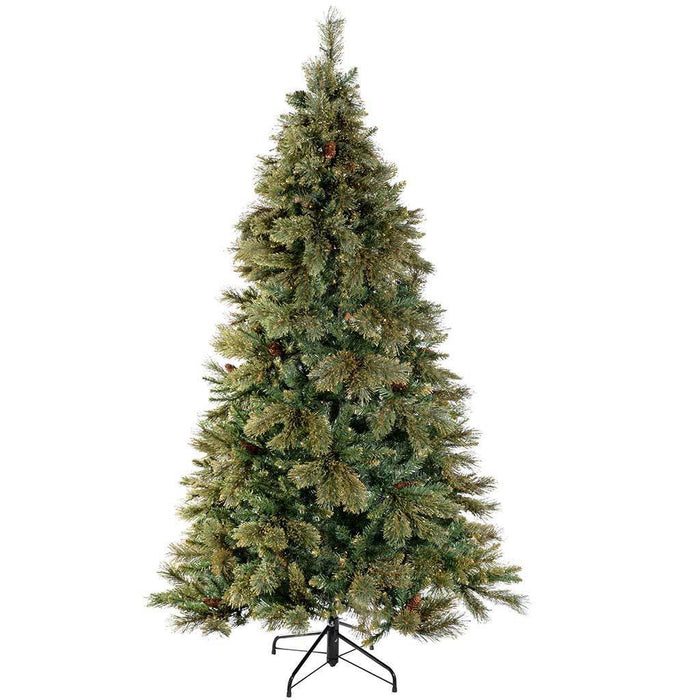 Pre-Lit Shimmering Champagne Multi-Function Christmas Tree with 400-LED Lights, 7 ft/2.1 m