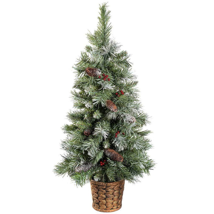 3 ft Scandinavian Blue Spruce Christmas Tree with Pine Cones and Berries in a Gold Resin Pot