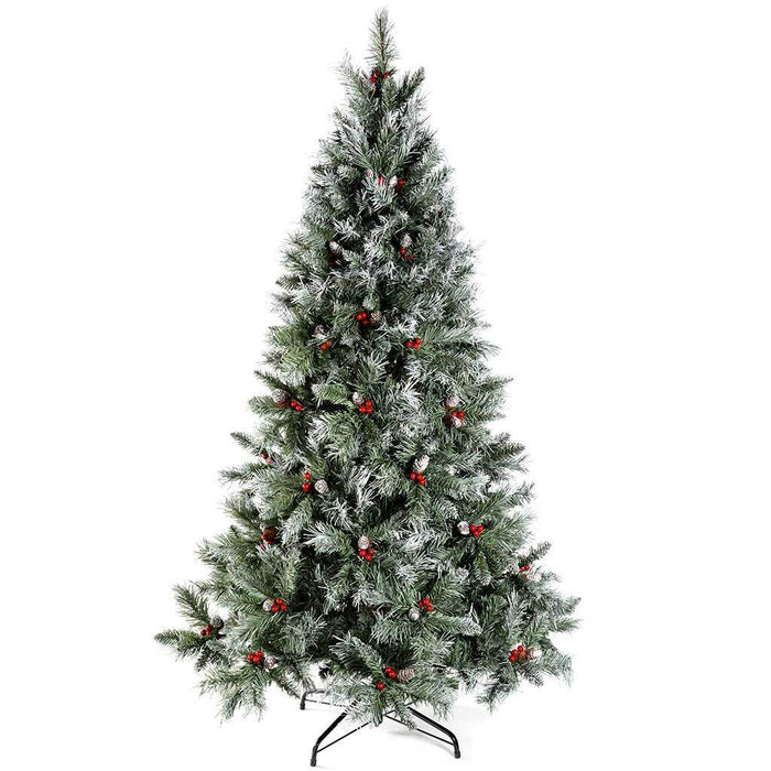 WeRChristmas 6 ft Scandinavian Blue Spruce Christmas Tree includes Pine Cones and Berries with Easy Build Hinged Branches