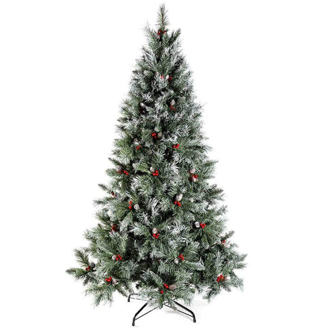 WeRChristmas 7 ft Scandinavian Blue Spruce Christmas Tree includes Pine Cones and Berries with Easy Build Hinged Branches