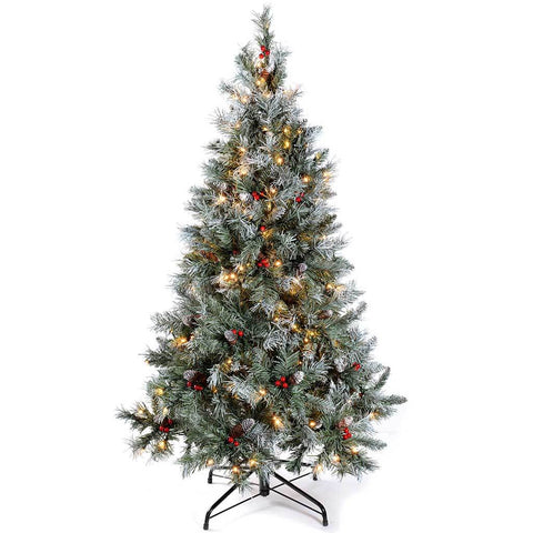 WeRChristmas Pre-Lit Scandinavian Spruce Pine Cone and Berry Christmas Tree, 200 Warm White LED Lights, 5 ft/1.5 m