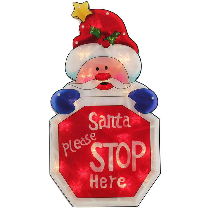 Pre-Lit Santa Stop Here Sign Double Sided Window Silhouette Christmas Decoration, 45 cm