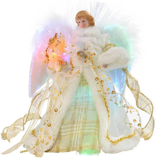 Fibre Optic Christmas Tree Top Topper Angel with Feather Wings, 25 cm - Cream/Gold