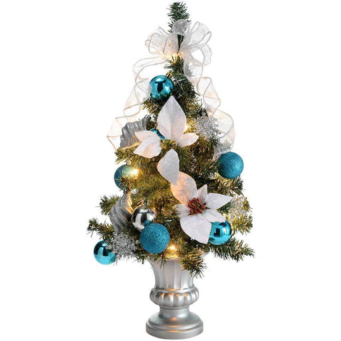 Pre-Lit Decorated Christmas Tree Table Decoration, 2 ft/60 cm - Silver