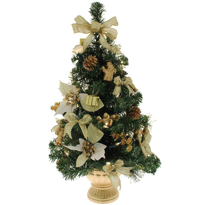 2 ft Pre-Lit Decorated Christmas Tree Table Decoration, Gold