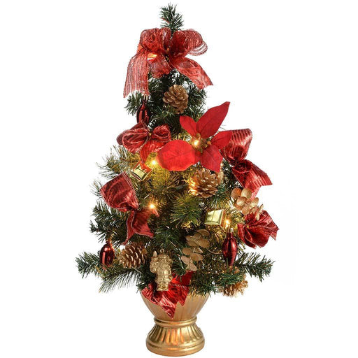 Pre-Lit Decorated Christmas Tree Table Decoration, 2 ft/60 cm - Red
