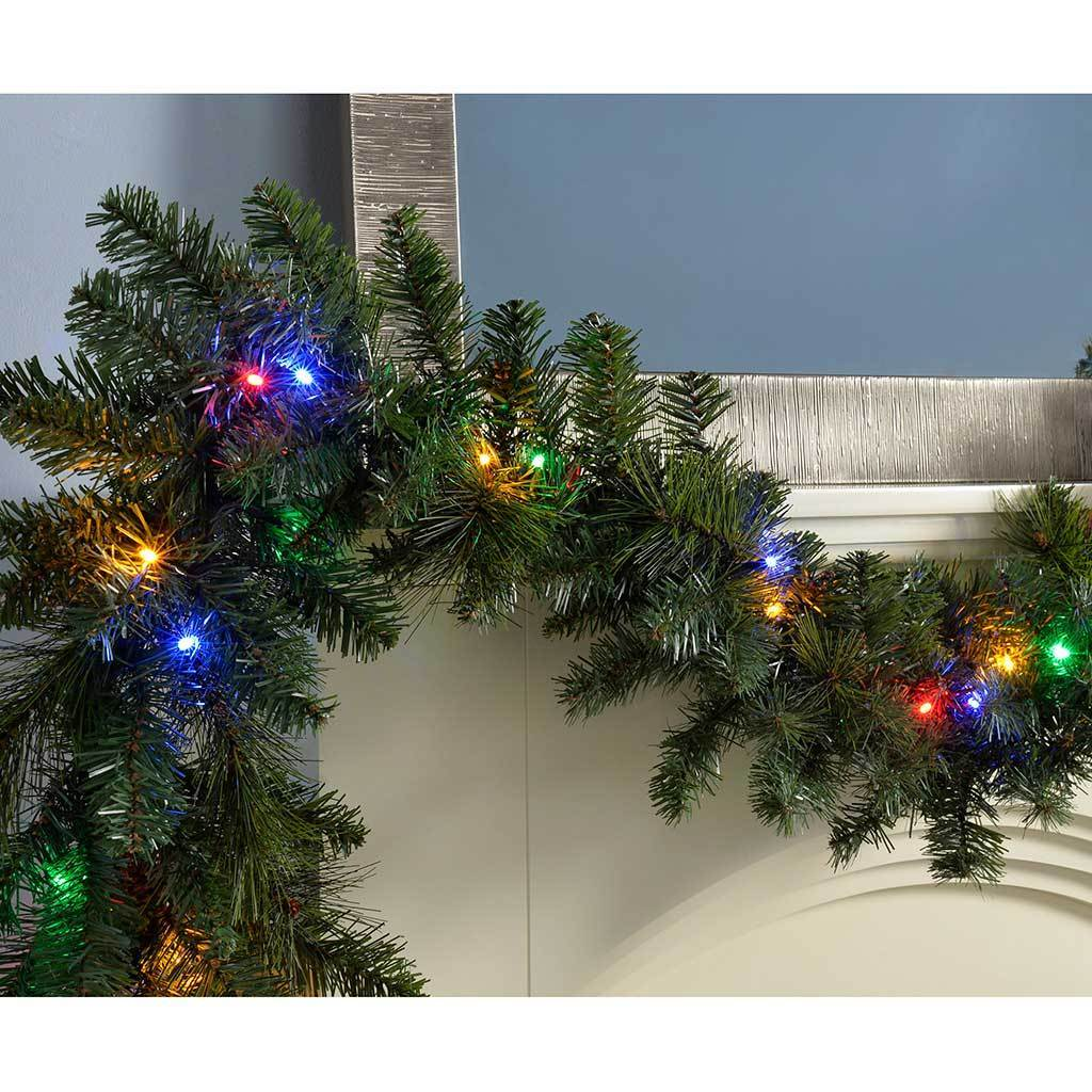 Pre-Lit Garland Christmas Decoration Illuminated with 40 Multi-Colour LED Lights, 9 ft
