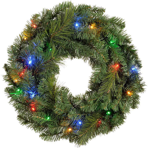 Pre-Lit Wreath Christmas Decoration Illuminated with 20 Multi-Colour LED Lights, 60 cm