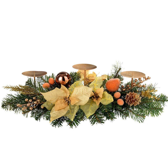 52 cm Copper and Gold Decorated Table Centre Piece with 3 Pillar Candle Holder Christmas Decoration