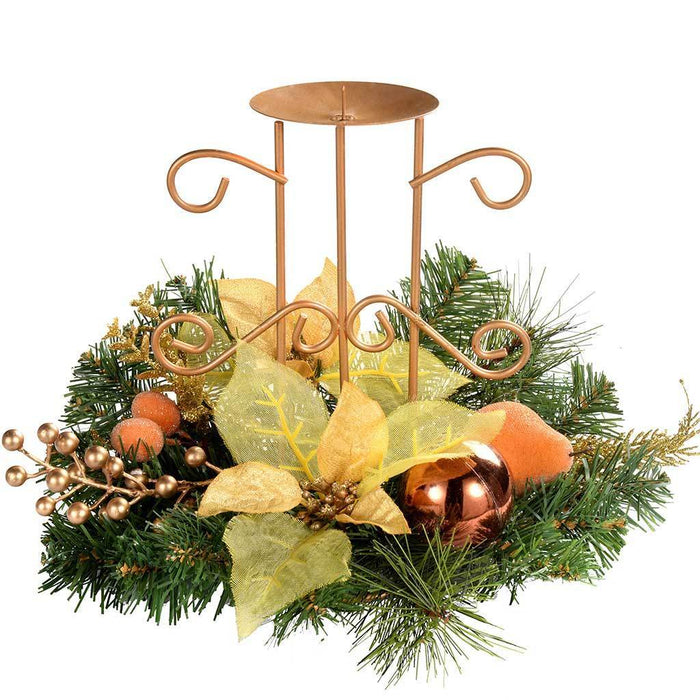 22 cm Decorated Table Centre Piece with Single Pillar Candle Holder Christmas Decoration, Copper/ Gold