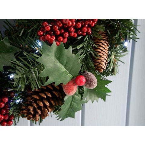 60 cm Natural Pine Cone and Berry Decorated Pre-Lit Wreath Christmas Decoration Illuminated with 20 Cool White LED Lights