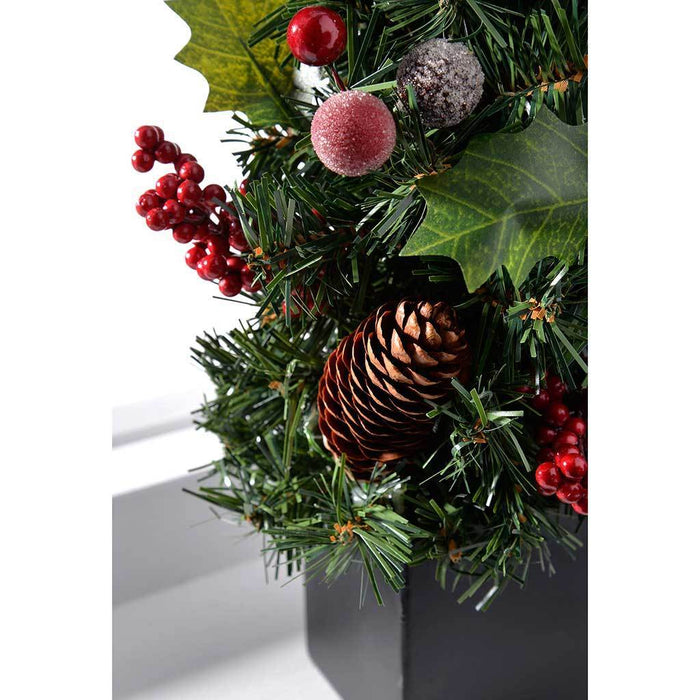 37 cm Natural Pine Cone and Berry Decorated Christmas Tree with Black Pot Table