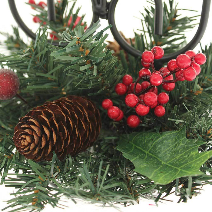 22 cm Natural Pine Cone and Berry Decorated Triple Tape Candle Holder Table Christmas Decoration