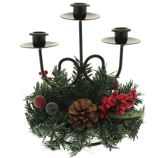 22 cm Natural Pine Cone and Berry Decorated Triple Tape Candle Holder Table Christmas Decoration | WeRChristmas