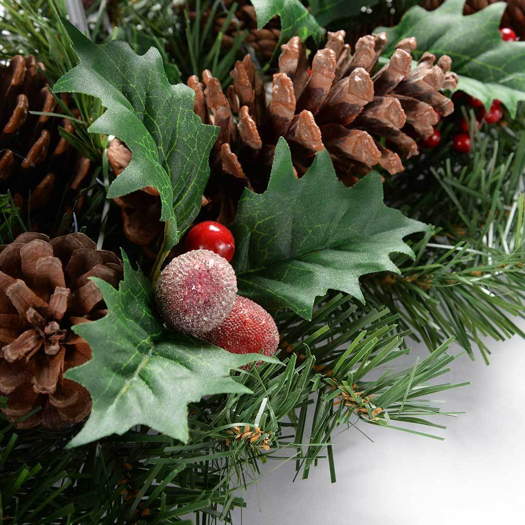 52 cm Natural Pine Cone and Berry Decorated Table Centre Piece with 3 Pillar Candle Holder Christmas Decoration