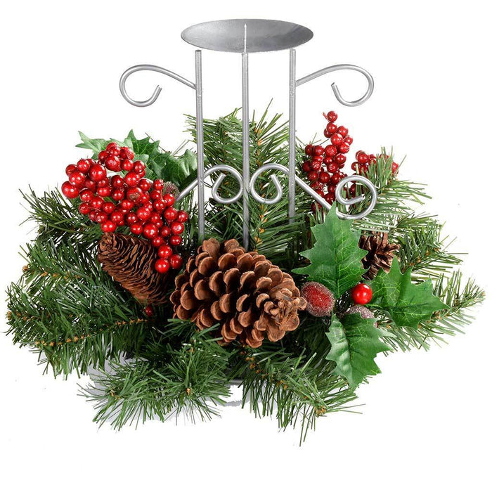22 cm Natural Pine Cone and Berry Decorated Table Centre Piece with Single Pillar Candle Holder Christmas Decoration