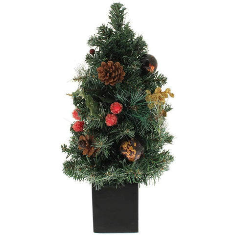 Decorated Christmas Tree with Black Pot Table, 37 cm - Red/Gold