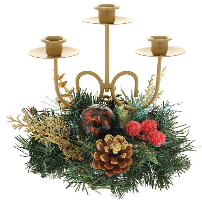 Berries/Pine Cone/Leaves Decorated Triple Tape Candle Holder Table, 22 cm - Red/Gold