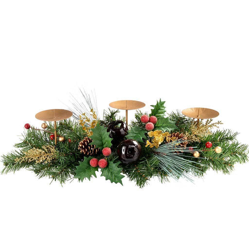 52 cm Berries/ Pine Cone/ Leaves Decorated Table Centre Piece with 3-Pillar Candle Holder Christmas Decoration, Red/ Gold